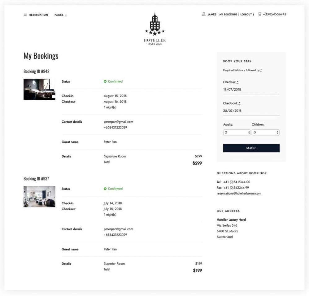hotel web development/ checkout-page